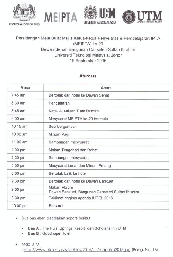 Perancangan Aturcara Persidangan MEIPTA ke-29 di UTM, Johor